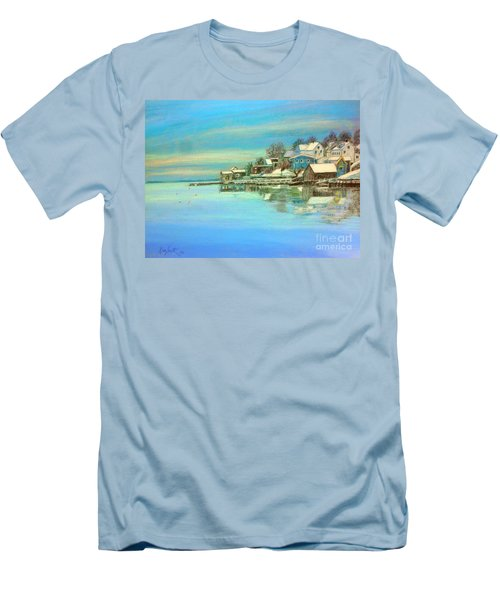 winter in Chester ,Nova Scotia  Men's T-Shirt (Slim Fit) by Rae  Smith PAC