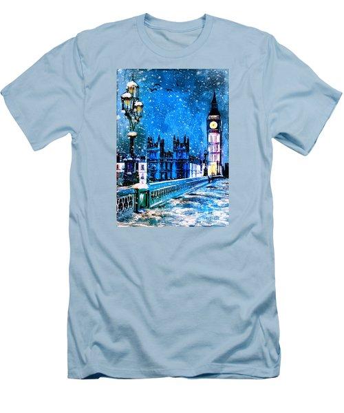 Winter In London  Men's T-Shirt (Slim Fit) by Andrzej Szczerski