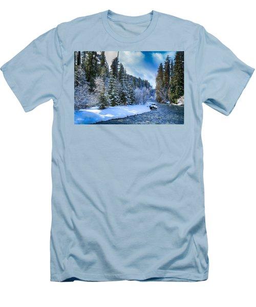 Winter Scene On The River Men's T-Shirt (Slim Fit) by Lynn Hopwood