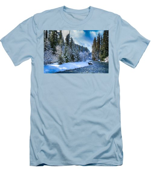 Winter Scene On The River Men's T-Shirt (Athletic Fit)