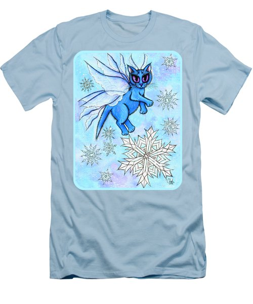 Winter Snowflake Fairy Cat Men's T-Shirt (Slim Fit) by Carrie Hawks