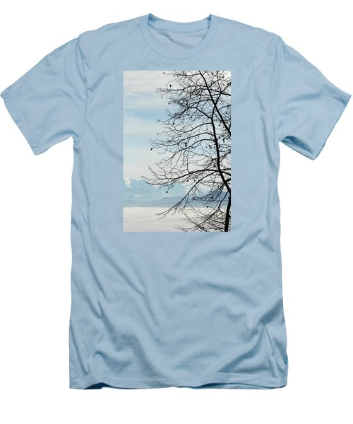 Winter Tree And Alps Mountains Upon The Fog Men's T-Shirt (Slim Fit) by Elenarts - Elena Duvernay photo