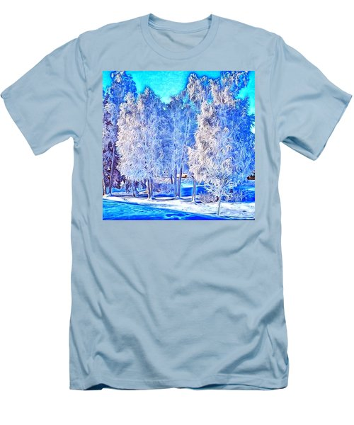 Men's T-Shirt (Slim Fit) featuring the digital art Winter Trees by Ron Bissett