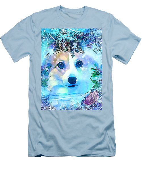 Men's T-Shirt (Slim Fit) featuring the digital art Winter Welsh Corgi by Kathy Kelly