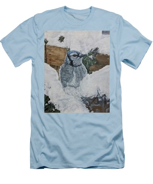 Men's T-Shirt (Slim Fit) featuring the painting Winters Greeting by Wendy Shoults