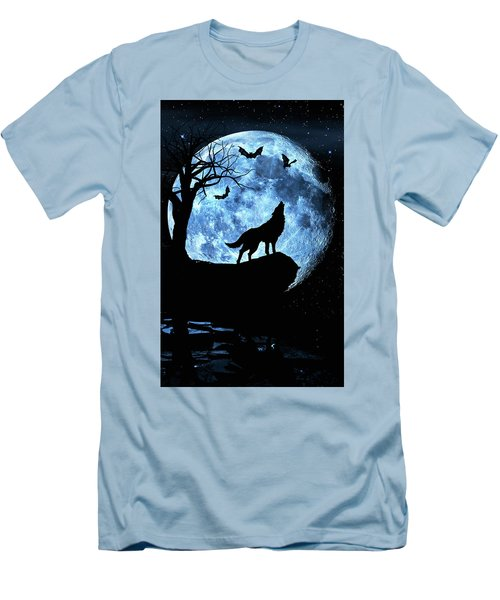 Men's T-Shirt (Slim Fit) featuring the photograph Wolf Howling At Full Moon With Bats by Justin Kelefas