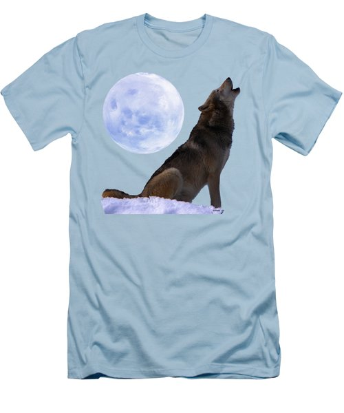 Wolf Howling Men's T-Shirt (Slim Fit) by EricaMaxine  Price