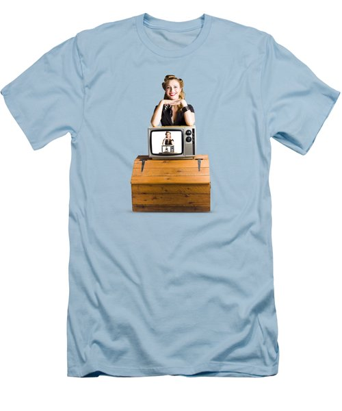 Woman  In Front Of Tv Camera Men's T-Shirt (Slim Fit) by Jorgo Photography - Wall Art Gallery