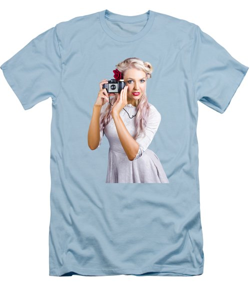 Woman Using Retro Film Camera Men's T-Shirt (Slim Fit)
