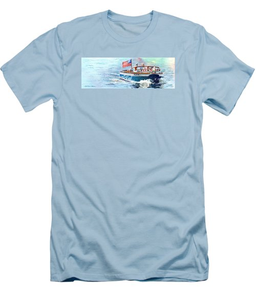 Wooden Boat Blues Men's T-Shirt (Slim Fit) by LeAnne Sowa
