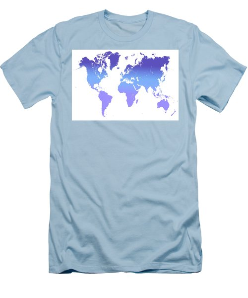 Men's T-Shirt (Slim Fit) featuring the photograph World Map Abstract. Blue Purple by Jenny Rainbow