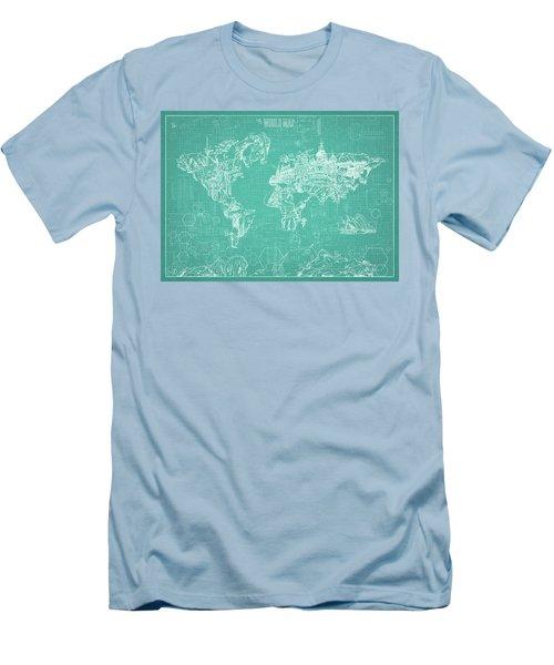 World Map Blueprint 7 Men's T-Shirt (Slim Fit) by Bekim Art
