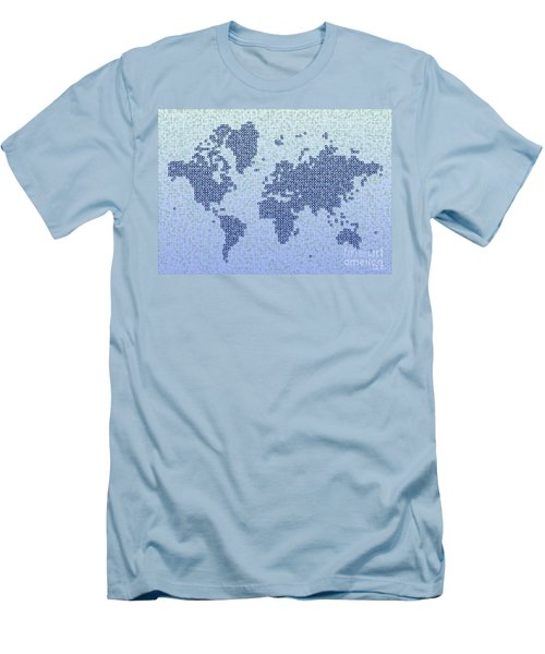 World Map Kotak In Blue Men's T-Shirt (Athletic Fit)