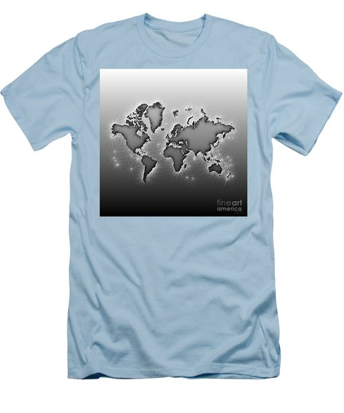 World Map Opala In Black And White Men's T-Shirt (Athletic Fit)