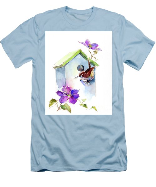 Wren With Birdhouse And Clematis Men's T-Shirt (Athletic Fit)