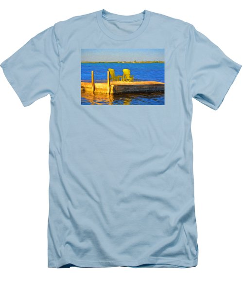 Yellow Adirondack Chairs On Dock In Florida Keys Men's T-Shirt (Athletic Fit)