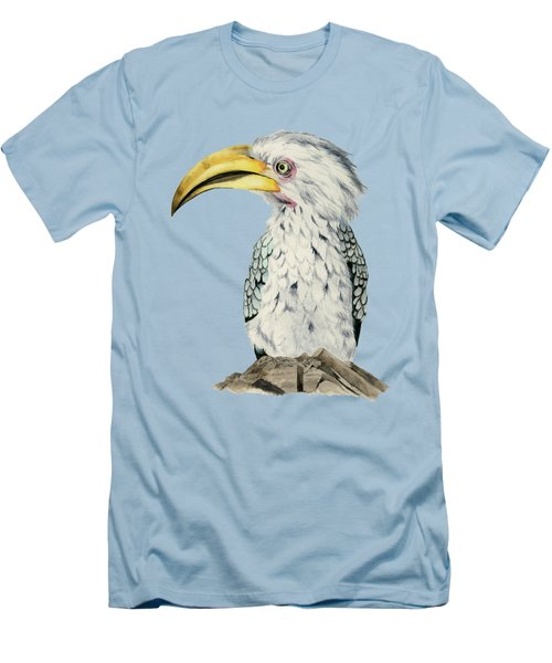 Yellow-billed Hornbill Watercolor Painting Men's T-Shirt (Athletic Fit)
