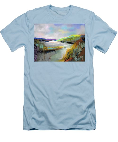 Yellow Mountain Men's T-Shirt (Slim Fit) by Frances Marino