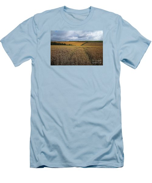 Yelow Fields And Fluffy Clouds  Men's T-Shirt (Slim Fit) by Gary Bridger