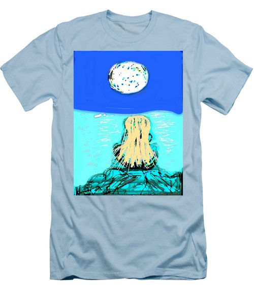Yoga By The Sea Under The Moon Men's T-Shirt (Athletic Fit)