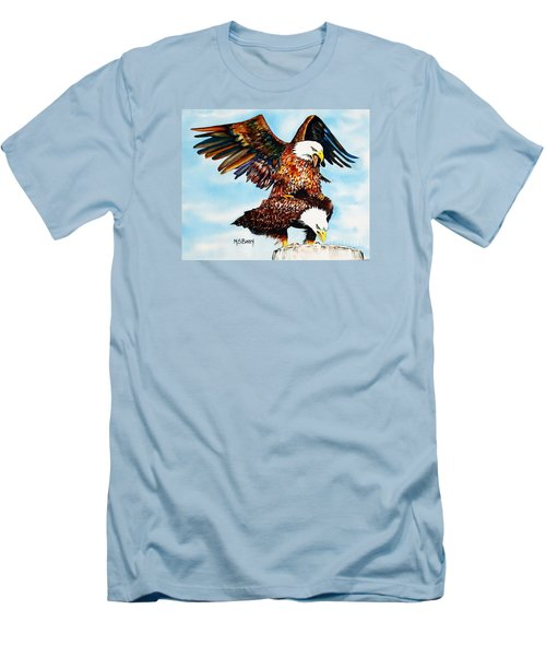 Men's T-Shirt (Slim Fit) featuring the painting You Ruffle My Feathers by Maria Barry