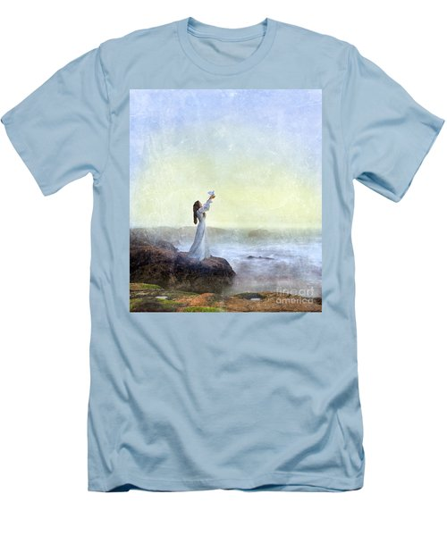 Young Lady Releasing A Dove By The Sea Men's T-Shirt (Athletic Fit)