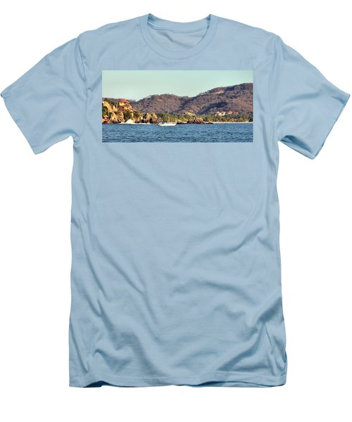 Zihuatanejo Bay Men's T-Shirt (Slim Fit) by Jim Walls PhotoArtist