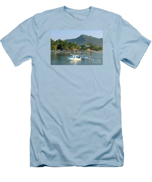 Zihwatanejo Beach Front Men's T-Shirt (Athletic Fit)