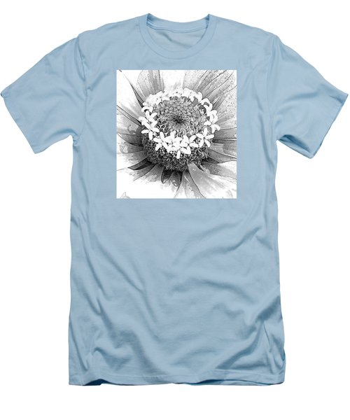 Men's T-Shirt (Slim Fit) featuring the photograph Zinnia, Black And White by Jeanette French