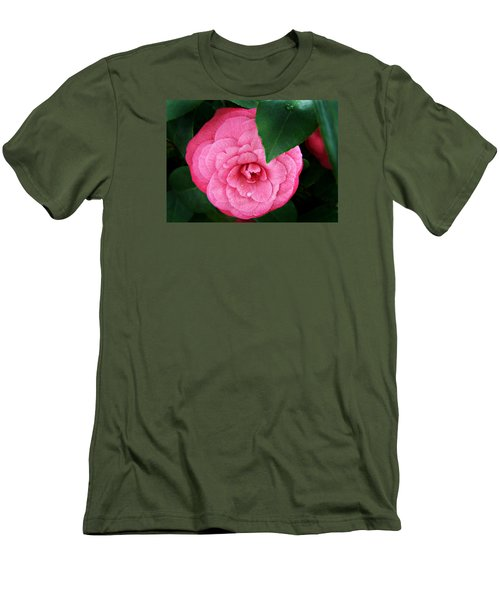 Camellia Japonica ' Elizabeth Weaver ' Men's T-Shirt (Slim Fit) by William Tanneberger