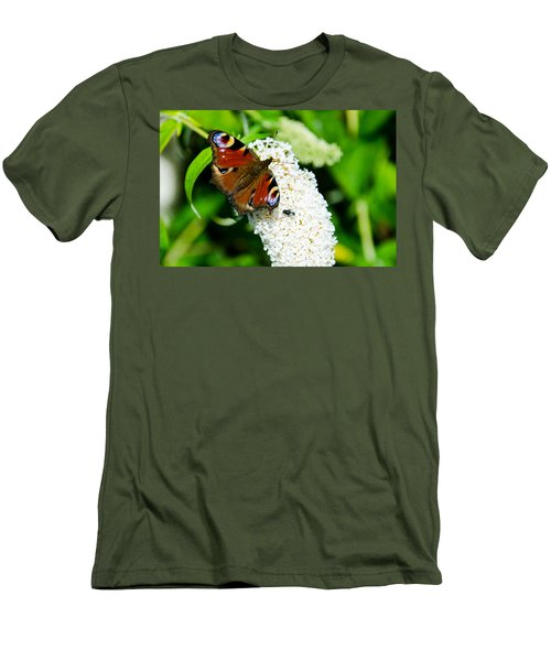 Peacock Butterfly Men's T-Shirt (Slim Fit) by Martina Fagan