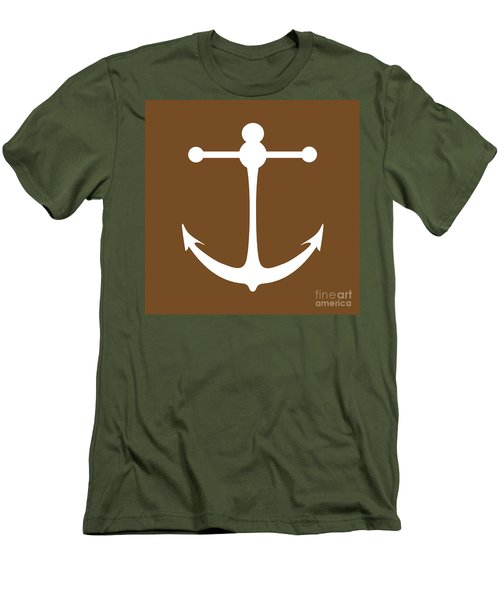 Anchor In Brown And White Men's T-Shirt (Athletic Fit)