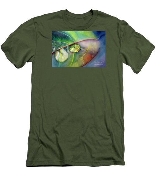 Men's T-Shirt (Slim Fit) featuring the painting Drops by Allison Ashton
