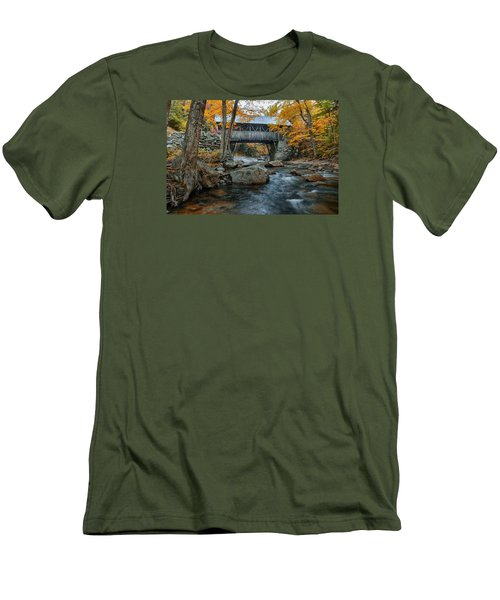 Flume Gorge Covered Bridge Men's T-Shirt (Slim Fit) by Jeff Folger