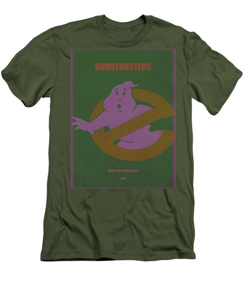 Men's T-Shirt (Slim Fit) featuring the digital art Ghostbusters Movie Poster by Brian Reaves