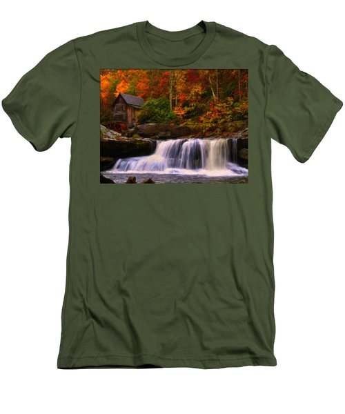 Glade Creek Grist Mill Men's T-Shirt (Slim Fit) by Chris Flees