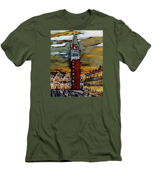 Men's T-Shirt (Slim Fit) featuring the painting Golden Venice by Jasna Gopic