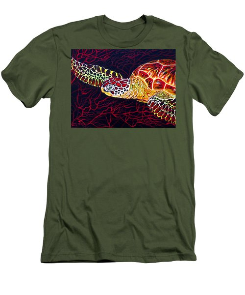 Hawksbill Turtle Men's T-Shirt (Slim Fit) by Debbie Chamberlin