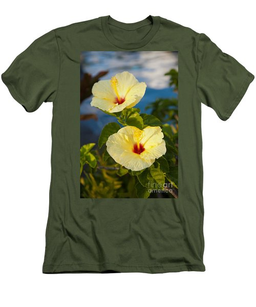 Men's T-Shirt (Slim Fit) featuring the photograph Bright Yellow Hibiscus by Roselynne Broussard
