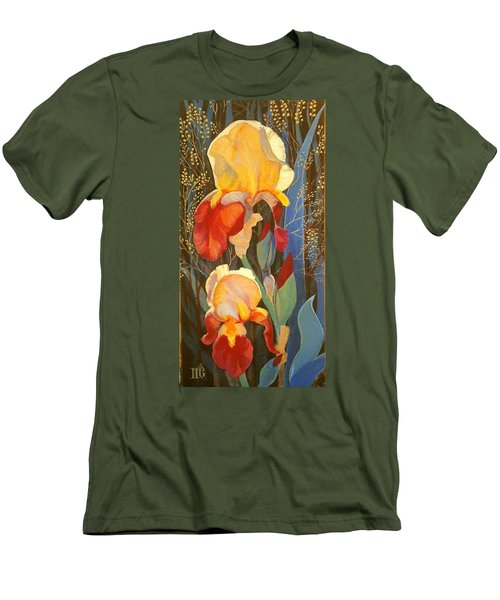 Men's T-Shirt (Slim Fit) featuring the painting Irises by Marina Gnetetsky