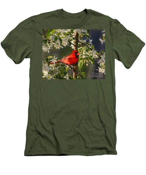 Red Cardinal In Flowers Men's T-Shirt (Athletic Fit)