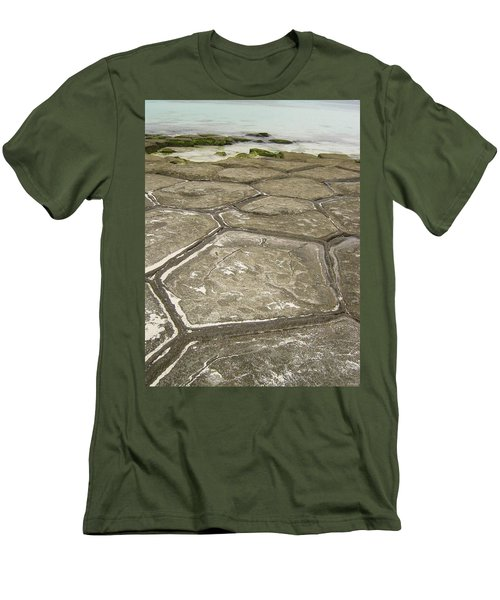 Natural Forming Pentagon Rock Formations Of Kumejima Okinawa Japan Men's T-Shirt (Slim Fit) by Jeff at JSJ Photography