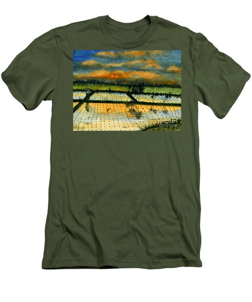 Men's T-Shirt (Slim Fit) featuring the painting On The Way To Ubud Iv Bali Indonesia by Melly Terpening