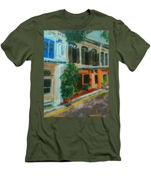 Men's T-Shirt (Slim Fit) featuring the painting Peranakan House by Belinda Low