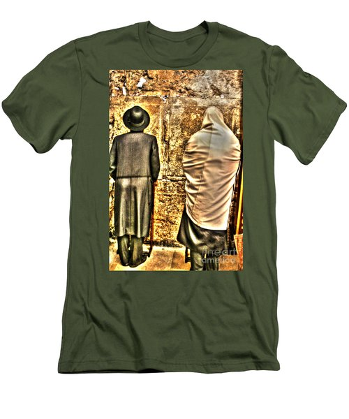 Men's T-Shirt (Slim Fit) featuring the photograph Praying At The Western Wall by Doc Braham