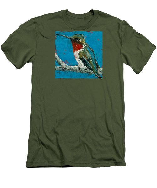 Ruby-throated Hummingbird Men's T-Shirt (Slim Fit) by Jani Freimann