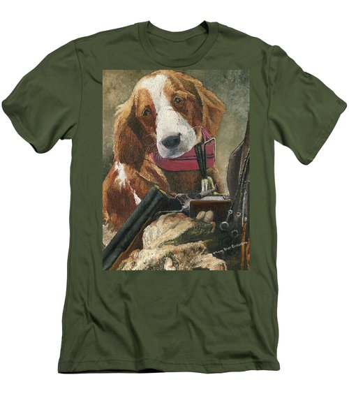 Men's T-Shirt (Slim Fit) featuring the painting Rusty - A Hunting Dog by Mary Ellen Anderson