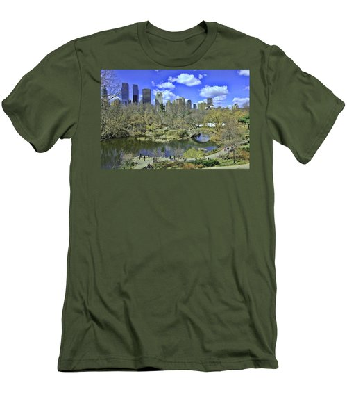 Springtime In Central Park Men's T-Shirt (Slim Fit) by Allen Beatty
