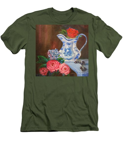 Still Life With Blue And White Pitcher Men's T-Shirt (Athletic Fit)
