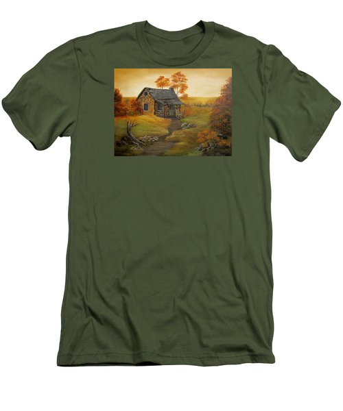 Men's T-Shirt (Slim Fit) featuring the painting Stone Cabin by Kathy Sheeran